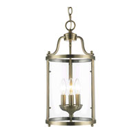Golden Lighting Payton 3 Light Pendant in Antique Brass with Clear Glass 1157-3P-AB