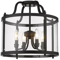 Golden Lighting 1157-SF BLK Payton 4 Light 16 inch Matte Black Semi-Flush Ceiling Light Damp