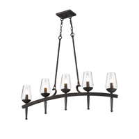 Golden Lighting Marcellis 5 Light Linear Pendant in Dark Natural Iron 1208-LP-DNI