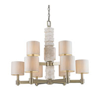 Golden Lighting Corsica 9 Light Chandelier in Antique Brass with Silken Parchment Shade 1212-9-AB