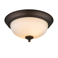 Multi-Family 2 Light 11 inch Rubbed Bronze Flush Mount Ceiling Light in Opal Glass