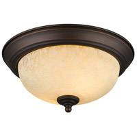 Multi-Family 2 Light 11 inch Rubbed Bronze Flush Mount Ceiling Light in Tea Stone Glass