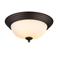 Multi-Family 2 Light 13 inch Rubbed Bronze Flush Mount Ceiling Light in Opal Glass