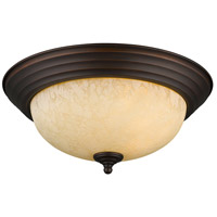 Multi-Family 2 Light 13 inch Rubbed Bronze Flush Mount Ceiling Light in Tea Stone Glass