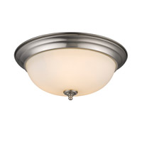 Multi-Family 3 Light 15 inch Pewter Flush Mount Ceiling Light in Opal Glass