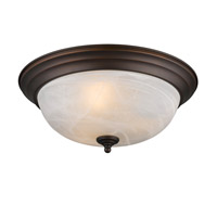 Golden Lighting Signature 3 Light Flush Mount in Rubbed Bronze 1260-15-RBZ-MBL