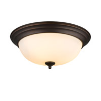 Multi-Family 3 Light 15 inch Rubbed Bronze Flush Mount Ceiling Light in Opal Glass
