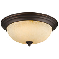 Golden Lighting Multi-Family 3 Light Flush Mount in Rubbed Bronze 1260-15-RBZ-TEA