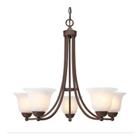 Golden Lighting Candace 5 Light Chandelier in Rubbed Bronze with Marbled Glass 1260-5-RBZ
