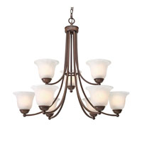 Golden Lighting Candace 9 Light Chandelier in Rubbed Bronze with Marbled Glass 1260-9-RBZ