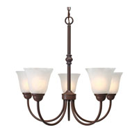 Golden Lighting Grace 5 Light Chandelier in Rubbed Bronze with Marbled Glass 1264-5-RBZ