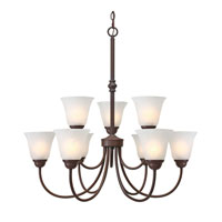 Golden Lighting Grace 9 Light Chandelier in Rubbed Bronze with Marbled Glass 1264-9-RBZ