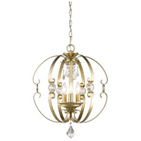 Ella 3 Light 18 inch White Gold Foyer Pendant Ceiling Light