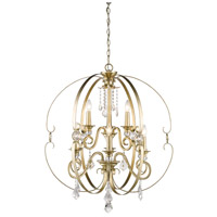 Ella 9 Light 30 inch White Gold Chandelier Ceiling Light, 2 Tier