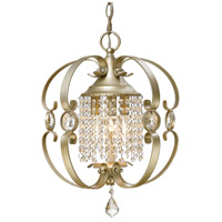 Ella 3 Light 14 inch White Gold Mini Chandelier Ceiling Light, Convertible to Semi-Flush