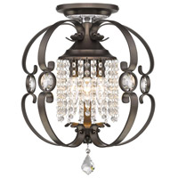 Ella 3 Light 14 inch Brushed Etruscan Bronze Semi-Flush Mount Ceiling Light