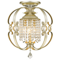 Ella 3 Light 14 inch White Gold Semi-Flush Mount Ceiling Light