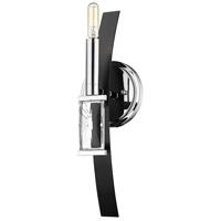 Golden Lighting 1374-1W-CH-BLK Ariana 1 Light 5 inch Chrome Sconce - Damp Wall Light