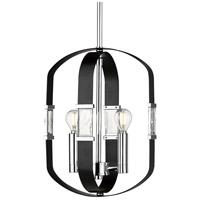 Golden Lighting 1374-2P-CH-BLK Ariana 2 Light 11 inch Chrome Mini Pendant Ceiling Light
