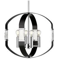 Golden Lighting 1374-4P CH-BLK Ariana 4 Light 18 inch Chrome Pendant Ceiling Light