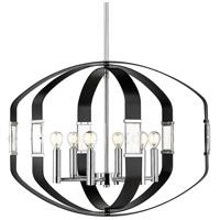 Golden Lighting 1374-6P CH-BLK Ariana 6 Light 27 inch Chrome Pendant Ceiling Light