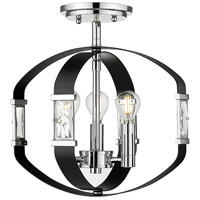 Golden Lighting 1374-SF-CH-BLK Ariana 3 Light 14 inch Chrome Semi-flush - Damp Ceiling Light