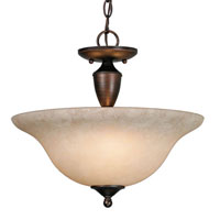 Golden Lighting Centennial 3 Light Convertible Semi-Flush in Rubbed Bronze 1392-RBZ-TEA