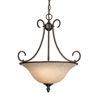 Golden Lighting Centennial 3 Light Bowl Pendant in Rubbed Bronze 1393-RBZ-TEA