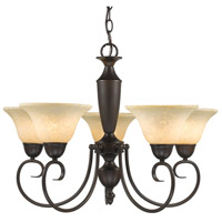 Golden Lighting 1395-RBZ-TEA Centennial 5 Light 26 inch Rubbed Bronze Chandelier Ceiling Light in Tea Stone Glass