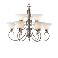 Golden Lighting Centennial 9 Light Chandelier in Pewter 1399-PW-OP