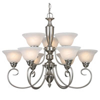 Golden Lighting Centennial 9 Light Chandelier in Pewter 1399-PW-MBL