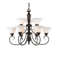 Golden Lighting Centennial 9 Light Chandelier in Rubbed Bronze 1399-RBZ-OP