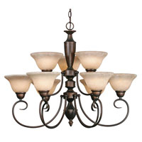 Golden Lighting Centennial 9 Light Chandelier in Rubbed Bronze 1399-RBZ-TEA