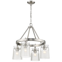 Golden Lighting 1405-4-PW-CAG Travers PW 4 Light 22 inch Pewter Chandelier - Mini Ceiling Light in Clear Frosted Artisan