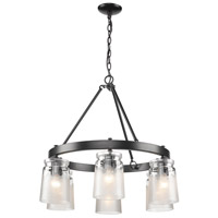 Golden Lighting 1405-6 BLK-CAG Travers 6 Light 28 inch Matte Black Chandelier Ceiling Light in Clear Frosted Artisan