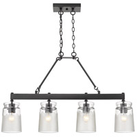 Golden Lighting 1405-LP-BLK-CAG Travers 4 Light 37 inch Black Linear Pendant Ceiling Light