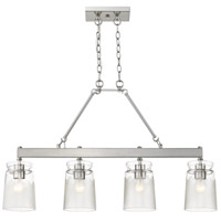 Golden Lighting 1405-LP PW-CAG Travers 4 Light 37 inch Pewter Linear Pendant Ceiling Light in Clear Frosted Artisan