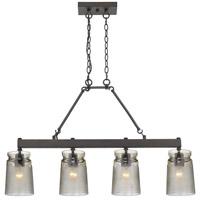 Golden Lighting 1405-LP-RBZ-AG Travers 4 Light 37 inch Rubbed Bronze Linear Pendant Ceiling Light