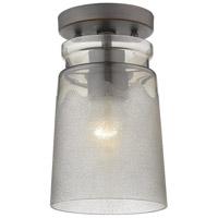 Golden Lighting 1405-SF-RBZ-AG Travers 1 Light 6 inch Rubbed Bronze Semi-flush - Damp Ceiling Light in Frosted Amber Artisan