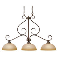 Golden Lighting Riverton 3 Light Island Light in Peppercorn with Linen Swirl Glass 1567-10-PC