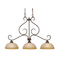 Golden Lighting Riverton 3 Light Linear Pendant in Peppercorn 1567-10-PC