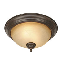 Golden Lighting Riverton 2 Light Flush Mount in Peppercorn with Linen Swirl Glass 1567-13-PC