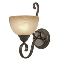 Golden Lighting Riverton 1 Light Wall Sconce in Peppercorn with Linen Swirl Glass 1567-1W-PC