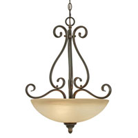 Golden Lighting Riverton 3 Light Bowl Pendant in Peppercorn with Linen Swirl Glass 1567-3P-PC