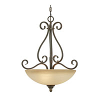 Riverton 3 Light 18 inch Peppercorn Pendant Ceiling Light, Bowl