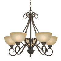 Golden Lighting Riverton 5 Light Chandelier in Peppercorn with Linen Swirl Glass 1567-5-PC