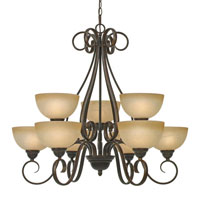 Golden Lighting Riverton 9 Light Chandelier in Peppercorn with Linen Swirl Glass 1567-9-PC