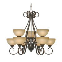 Golden Lighting 1567-9-PC Riverton 9 Light 33 inch Peppercorn Chandelier Ceiling Light, 2 Tier