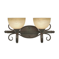 Golden Lighting Riverton 2 Light Bath Fixture in Peppercorn with Linen Swirl Glass 1567-BA2-PC