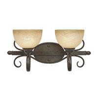 Golden Lighting Riverton 2 Light Bath Fixture in Peppercorn with Linen Swirl Glass 1567-BA2-PC photo thumbnail